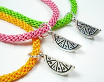 Citrus Fruit Kumihimo Charm Bracelets - Choose One Friendship Bracelet in Lime, Orange, or Grapefruit