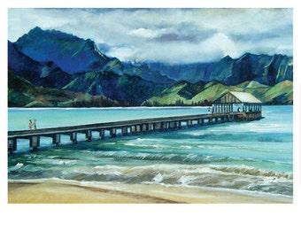 Hawaiian Oil Painting - 10x8in Mini Giclee Print of Bridge Painting