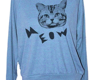Womens CAT SWEATSHIRT -- american apparel S M L -- (3 Color Options) skip n whistle