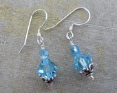 Aqua Swarovski Short Drop Earrings- Kara Collection by Courtney Lee Designs-Sterling Silver