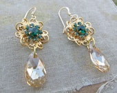 SALE 25% DISCOUNT...Emerald and Golden Shadow Briolette Swarovski Flower Earrings by Courtey Lee Designs-Victoria Collection-14K Gold Fill