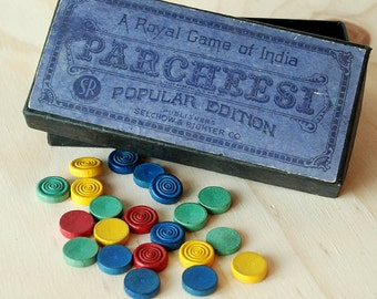 Vintage Parcheesi Game Box and Wooden Pieces Photo Prop