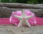 Starfish Headband-BUBBLE GUM PINK-Starfish Hair,Starfish Headbands,Beach Weddings, Flower Girls, Little Mermaid Costume, Photo Prop