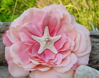 Pink Starfish Floral Rose Hair Clip-Beach Weddings, Mermaid Hair Clip, Mermaids, Starfish,Destination Weddings, Bridal Hair Piece, Pink Rose
