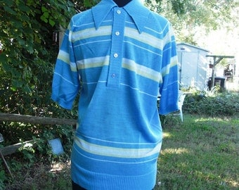 Mens 70s Sweater, 70s Costume, Vintage Sweater, Short Sleeve Sweater, Golf Sweater, Striped Sweater by Anderson-Little, Mens Sweater Size S