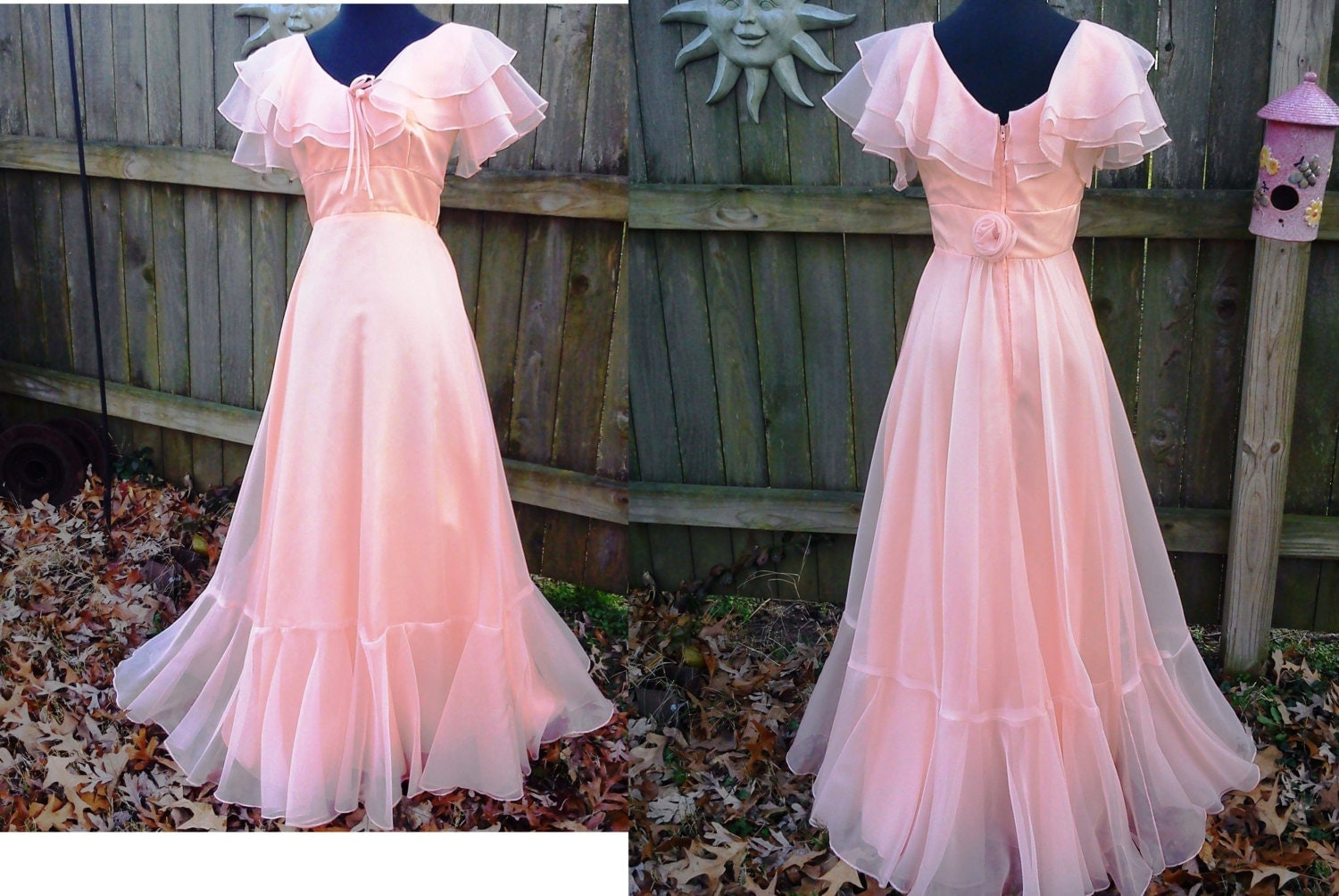 70s Prom Dress By JCP In Peach Chiffon Ruffles Estimated Size