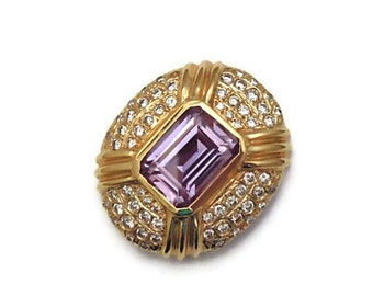 Huge Diamond Alexandrite Slide Pendant 14K Gold w Appraisal