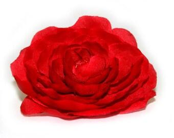 1 Solid Red Ranunculus - Silk Flowers, Artificial Flower Heads