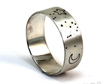 Constellation ring band, Orion the hunter ring, 8 mm (5/16) wide in sterling silver, zodiac sign ring, engraving inside, band