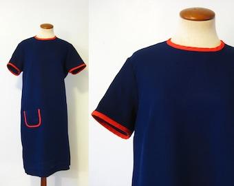 1970s Mod Shift Dress Navy Blue Red Ringer Scooter Knee Length Short Sleeve Vintage 70s XL Extra Large Pocket Retro Day