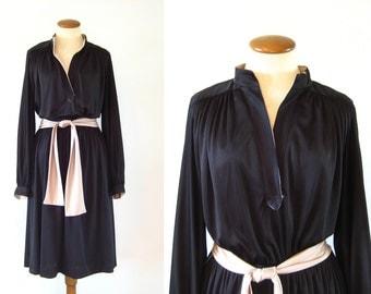 1970s Dress Slinky Black Disco Sexy Silky V Neck Nehru Open Collar Long Sleeves Swing Skirt Contrast Belt L Large Contrast Nude Vintage 70s