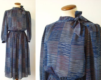 1980s Dress Secretary Day Ascot Midi Blue Abstract Fitted Waist Semi Sheer Button Shoulder Vintage 80s Side Pussybow M L Medium Large