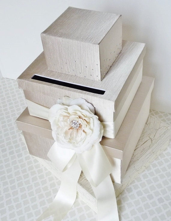 Wedding Card Box  Cream and Ivory Crystals Customizable
