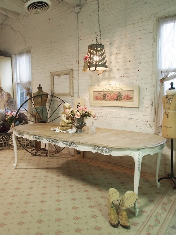 painted cottage chic shabby white french dining table tbl16. Black Bedroom Furniture Sets. Home Design Ideas