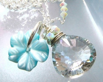 Mystic Topaz Necklace AAA Aqua Mystic Fancy Faceted Starburst Briolette Necklace Beach Jewelry Charm Necklace Sky Blue