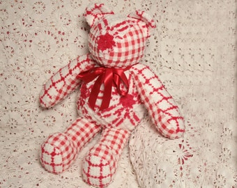 Perky Red and White Vintage Chenille Teddy Bear