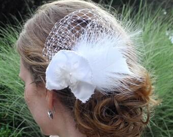 White Feather Fascinator with White Rosette Bridal, Wedding, Hair Clip / made to order / for Brides or Bridesmaids