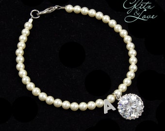 Giselle - Big Round Cubic Zirconia Drop and initial Pearl Bracelet, personalized jewelry, bridesmaid bracelet