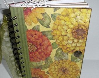 SALE...Garden Journal - Zinnias Themed - Spring - Spiral Bound - Daily Journal