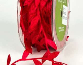 Leaf Satin Ribbon - Red - 1 inch  - You Choose Yards