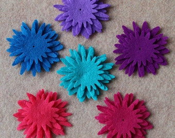 Moroccan Midnight - Asters - 36 Die Cut Felt Flowers