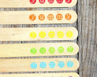 "Jumbo Wooden Popsicle Sticks, ""yummy"" Boys Rainbow Stamped Popsicle Sticks, Rice Crispy Pop Sticks, Treat Sticks (6"" - 18 ct) Ready to Ship"