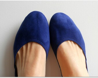 MAYA - Ballet Flats - Suede Shoes - 40 - Cobalt Blue. Available in different colours & sizes