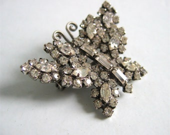 Butterfly Rhinestone Brooch, Pendant. Vintage 1950.  Hollywood Glamour.