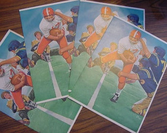 SALE...Lot of 4 Unused Colorful Original Coca-Cola Coke Advertising Retaurant Menu Vintage Football 1970s Artist Joe Little