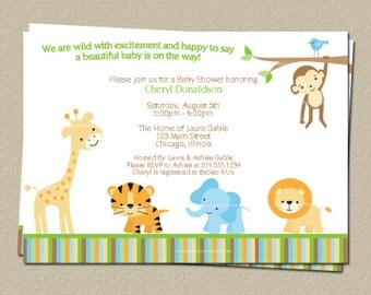 Digital Jungle Theme Baby Shower Invitation, Safari, Zoo, Animals, DIY, Electronic File, FAST Delivery, WWEGN, Wild With Excitement Neutral