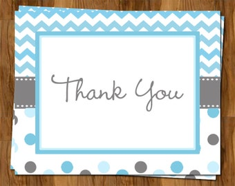 Blue Chevron Stripe and Polka Dots Baby Shower Thank You Notes, Set of 10 folding cards with envelopes, FREE shipping