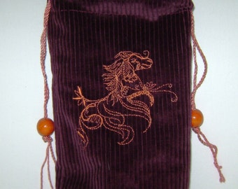 Golden Ashwa Horse on Maroon Corduroy Bag/Pouch - Tarot, Oracle, Runes, Gaming Dice, Anything