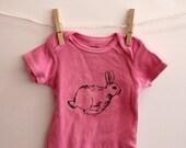 Pink Racing Rabbit onesie, bunny, cotton bodysuit, easter, spring, hare