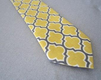 Mens Tie, Necktie in Mustard and Charcoal