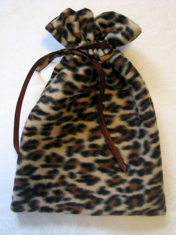 Leopard print fleece gift bag