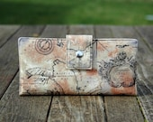 Wallet clutch womens handmade clutch in old world map