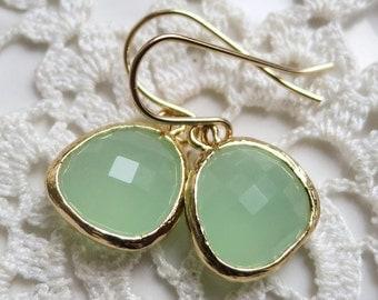 Light Mint green Earrings,Mint Drops,Mint Earrings,Pistachio Green bezel set Earrings - Spring Green Earrings, Everyday Simple Jade earrings