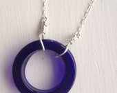 Sterling a glass necklace in transparent royal blue