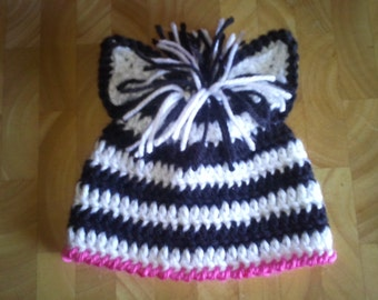 Crocheted Baby Zebra Hat  Newborn to 3 years  You choose size