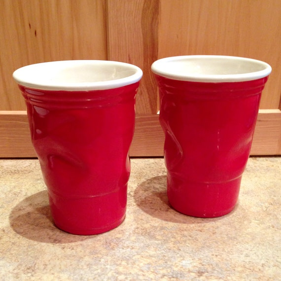 Crinkled Red Solo Cup Set Of Two Ceramic Cups