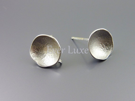 1580-MR (2 pairs) Matte Rhodium plated round curved post earrings