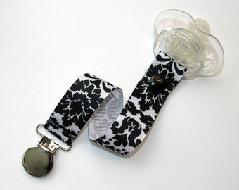 Black and White Damask Pacifier Clip Soothie Holder