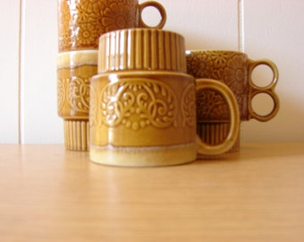 Vintage Retro Coffee or Tea Mugs Set of Four
