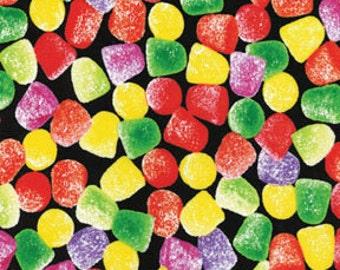 Benartex Fabrics...Delicious Sugar Coated Candy GUMDROPS On Black Fabric.....1 Yard...New