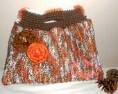 Mocha Mango Madness Terrifically Textured Tote - purse, cotton, crochet, brown, orange, bag, handbag, tote bag, flowers, market bag
