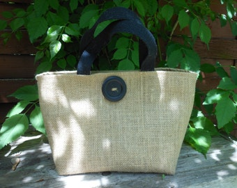 Natural Burlap  Tote Lunch Bag with Wooden  Button