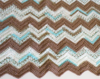 Chevron Baby Blanket made with soft yarn in chocolate brown, soft cream and mint colors