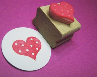 Spotty Heart - Hand Carved Rubber Stamp by Skull and Cross Buns - Wedding Heart - Wedding Invite - Wedding Gift - Valentines Gift - Craft