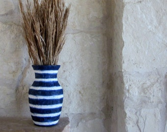 Blue Vase / Navy Blue and White Striped vase / Painted Vases / beach cottage living