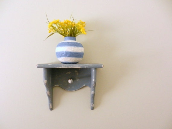 Blue and White Striped Vase / round vase / Handcrafted Vase / country decor / beach living design